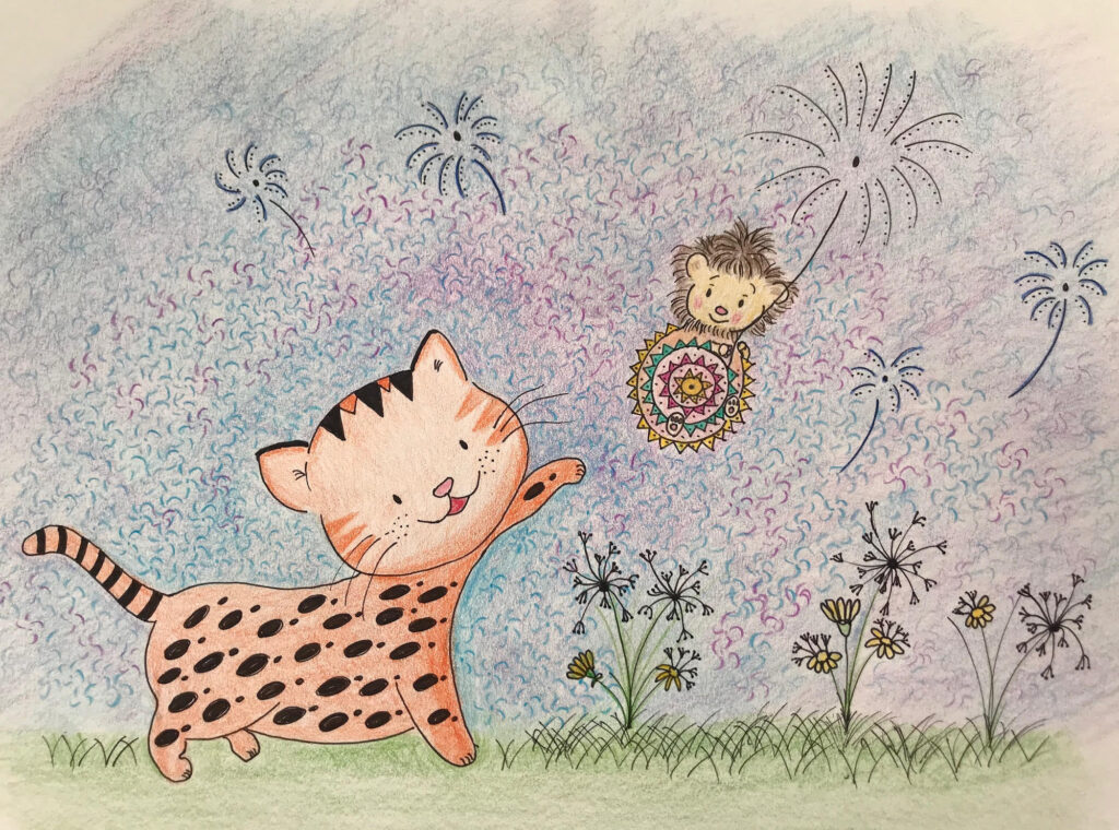 MiniMűhelyes alkotó korábbi rajz munkája - tigris, süni