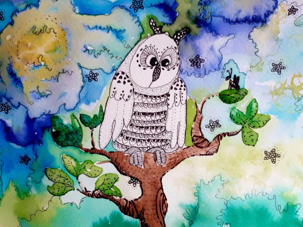 MiniMűhelyes alkotó korábbi rajz munkája - bagoly