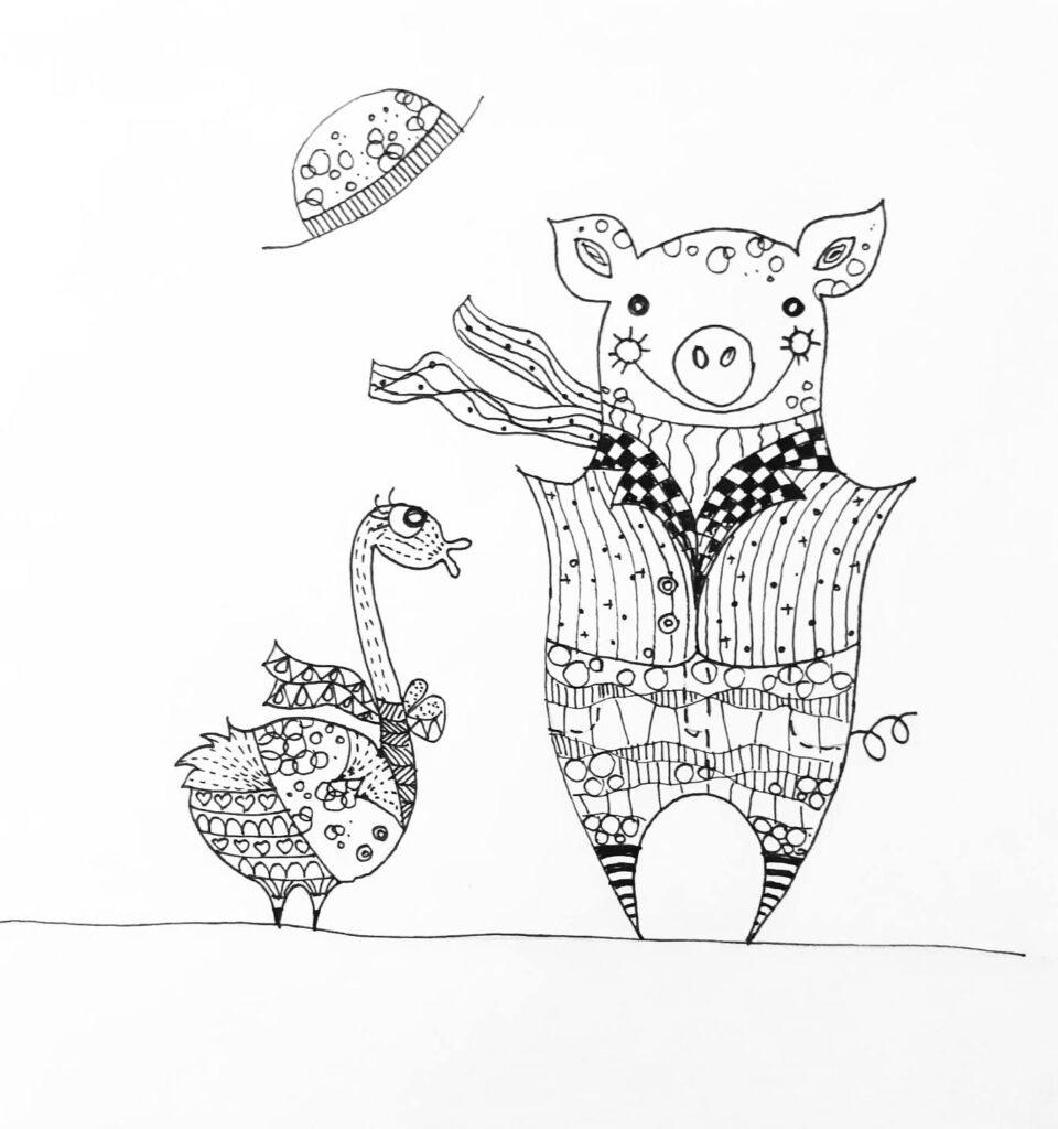 MiniMűhelyes alkotó korábbi rajz munkája - malac és pulyka