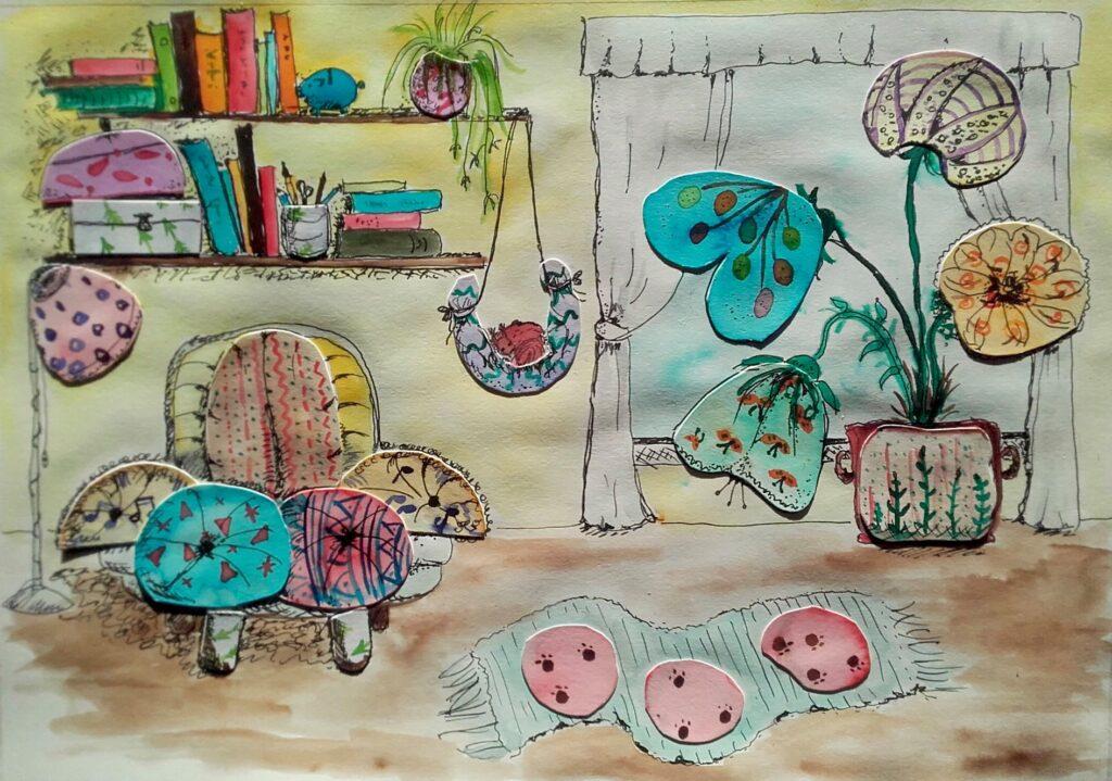 MiniMűhelyes alkotó korábbi rajz munkája - kollázs