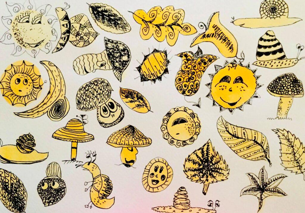MiniMűhelyes alkotó korábbi rajz munkája - nap, gomba, levél