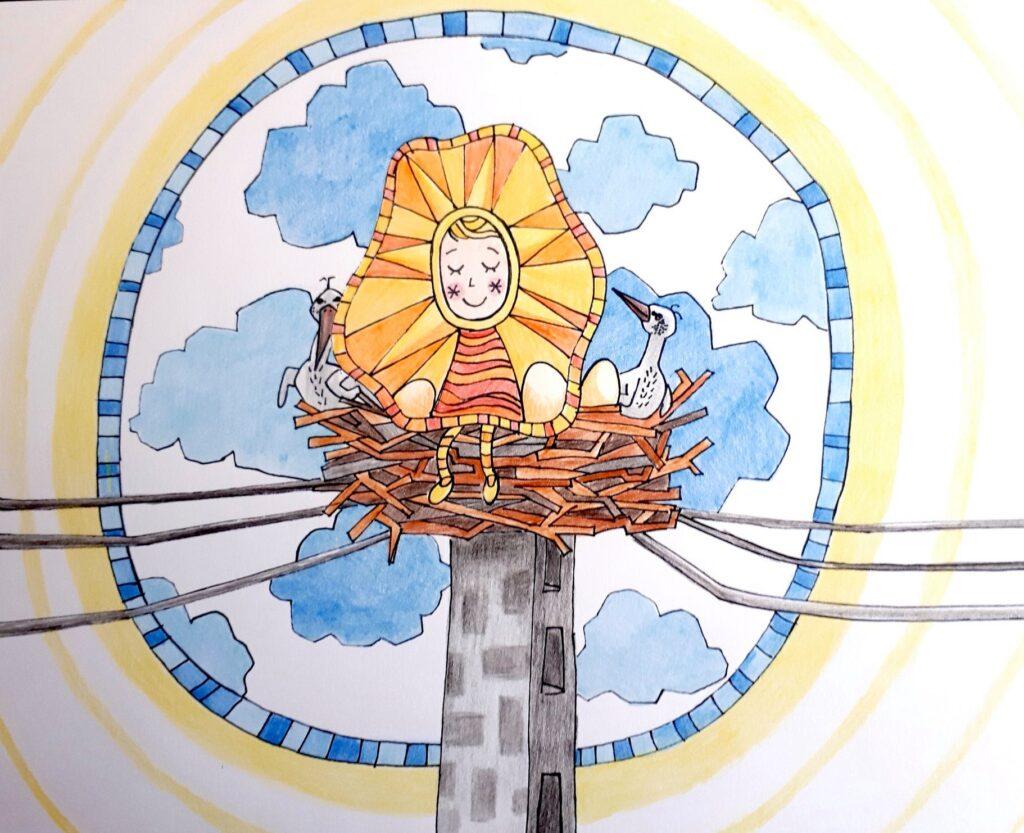 MiniMűhelyes alkotó korábbi rajz munkája - gólyák